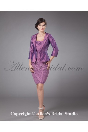 Slik and Taffeta Strapless Knee-length Sheath Mother Of The Bride Dress with Jacket