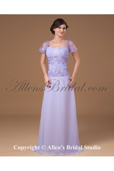 Chiffon Sweetheart Floor Length A-line Mother Of The Bride Dress with Short Sleeves