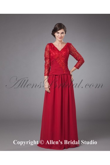 Chiffon V-Neck Floor Length A-Line Mother Of The Bride Dress with Long Sleeves