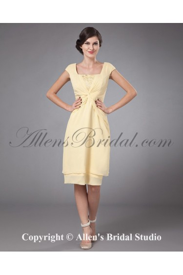 Chiffon Square Neckline Mini Column Mother Of The Bride Dress with Ruffle and Cap-Sleeves