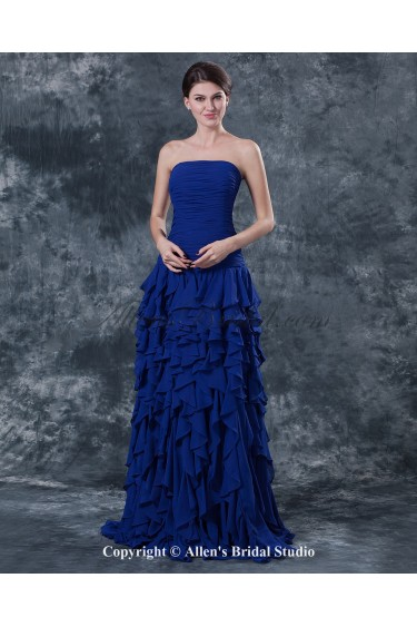 Chiffon Strapless Sweep Train Column Mother Of The Bride Dress with Ruffle
