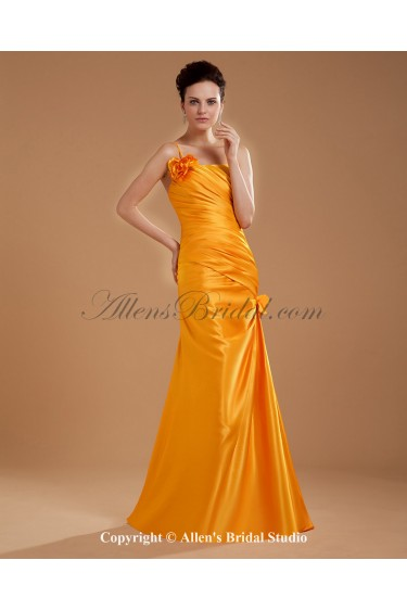 Taffeta One-Shoulder Floor Length Mermaid Mother Of The Bride Dress with Flower