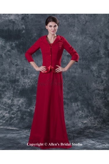 Satin Square Neckline Floor Length Sheath Mother Of The Bride Dress with Jacket