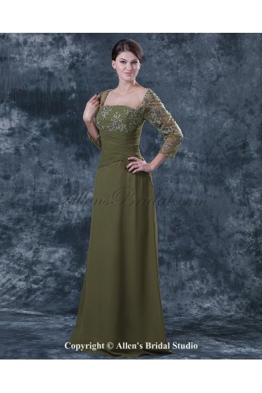 Chiffon and Lace Square Neckline Floor Length Column Mother Of The Bride Dress with Three-quarter Sleeves