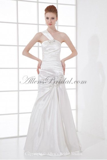 Satin One-shoulder Mermaid Floor Length Crystals Prom Dress