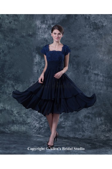 Chiffon and Lace Square Neckline Knee-Length A-Line Mother Of The Bride Dress with Cap-Sleeves