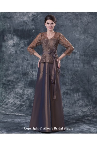 Taffeta and Lace V-Neck Floor Length A-line Mother Of The Bride Dress with Three-quarter Sleeves