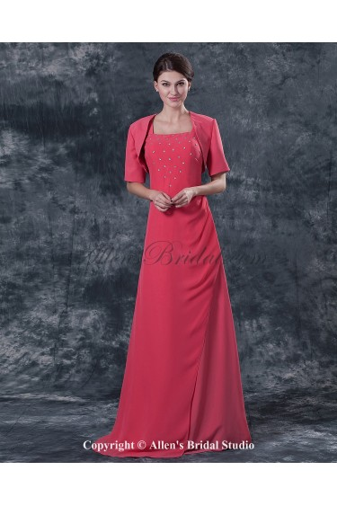 Chiffon Square Neckline Floor Length A-line Mother Of The Bride Dress with Jacket