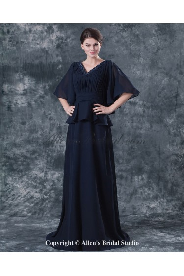Chiffon V-Neck Sweep Train Column Mother Of The Bride Dress with Beading