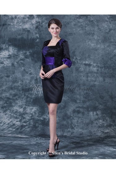 Satin Square Neckline Short Sheath Mother Of The Bride Dress with Jacket