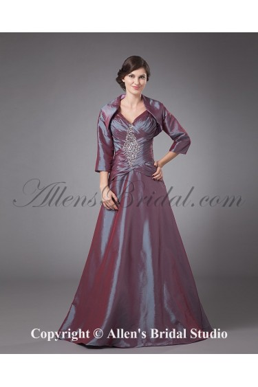 Taffeta Spaghetti Straps Neckline Floor Length A-line Mother Of The Bride Dress with Jacket
