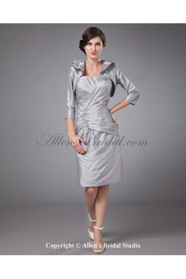 Taffeta Sweetheart Knee-length Sheath Mother Of The Bride Dress with Ruffle and Jacket
