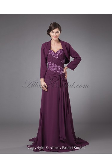 Chiffon Straps Sweep Train A-line Mother Of The Bride Dress with Jacket