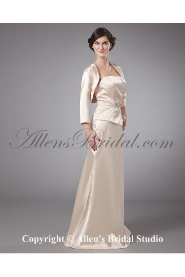 Satin Strapless Floor Length A-line Mother Of The Bride Dress with Crystals and Jacket