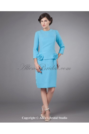 Chiffon Jewel Neckline Knee-Length Sheath Mother Of The Bride Dress with Three-quarter Sleeves