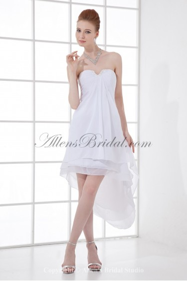 Chiffon Sweetheart Neckline Column Short Cocktail Dress