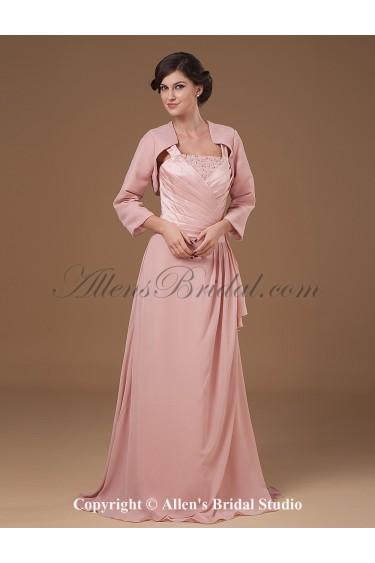 Chiffon and Charmeuse Straps Sweep Train A-line Mother Of The Bride Dress with Jacket