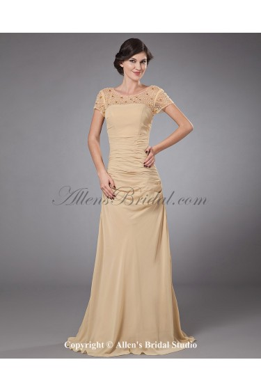 Chiffon Bateau Neckline Sweep Train A-line Mother Of The Bride Dress with Beading and Cap-Sleeves