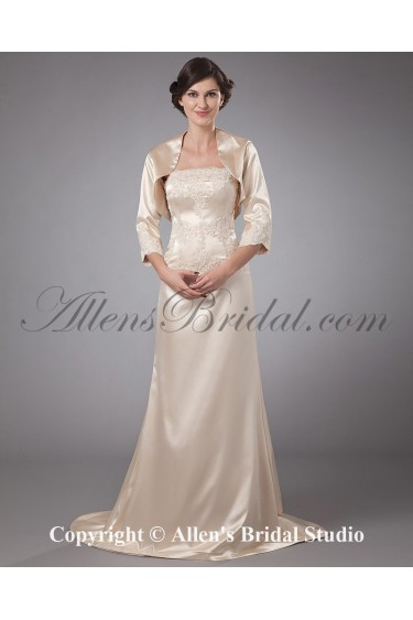 Satin Strapless Sweep Train A-line Mother Of The Bride Dress with Jacket
