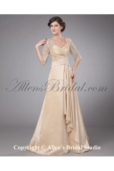 Taffeta V-Neck Sweep Train A-line Mother Of The Bride Dress with Embroidered and Ruched