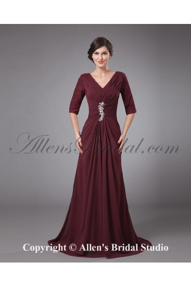 Chiffon V-Neck Sweep Train A-line Mother Of The Bride Dress with Pleated and Ruffle