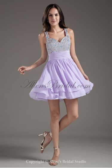Chiffon Straps A-Line Purple Short Sequins Cocktail Dress