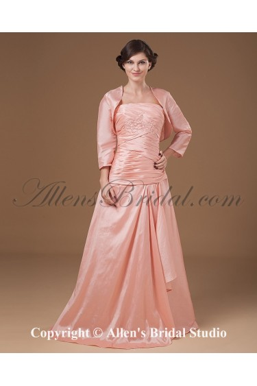 Taffeta Strapless Floor Length A-line Mother Of The Bride Dress with Embroidered Crisscross Ruched and Jacket
