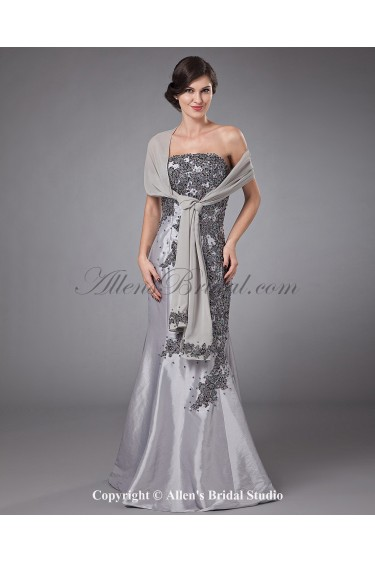 Satin Strapless Floor Length Mermaid Mother Of The Bride Dress with Embroidered