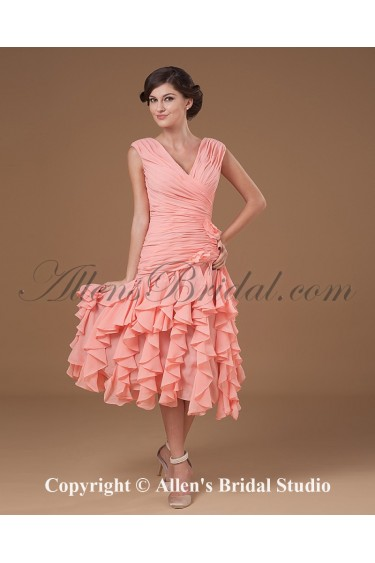 Yarn V-Neck Tea length Column Mother Of The Bride Dress with Ruffle