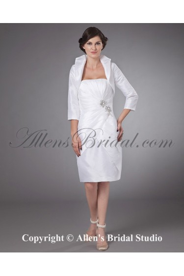 Satin Strapless Knee-length Sheath Mother Of The Bride Dress with Ruffle and Jacket