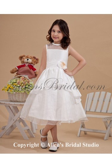 Satin and Organza Jewel Neckline Tea-Length Ball Gown Flower Girl Dress with Flower