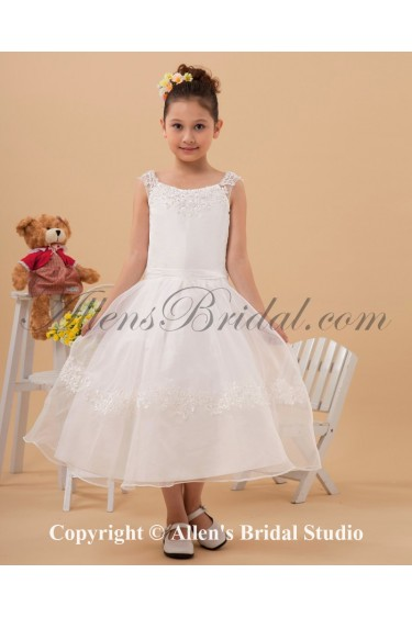 Satin and Yarn Bateau Neckline Tea-Length Ball Gown Flower Girl Dress with Embroidered