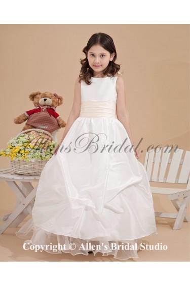 Satin and Yarn Bateau Neckline Ankle-Length Ball Gown Flower Girl Dress with Bow and Flowers