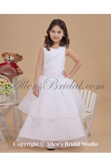 Satin and Tulle Jewel Neckline Ankle-Length A-line Flower Girl Dress with Embroidered