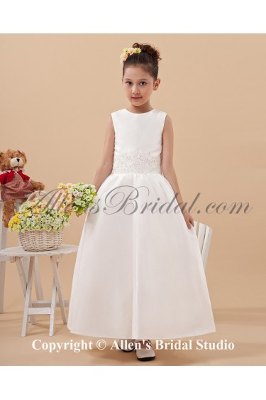 Satin Jewel Neckline Ankle-Length Ball Gown Flower Girl Dress with Embroidered