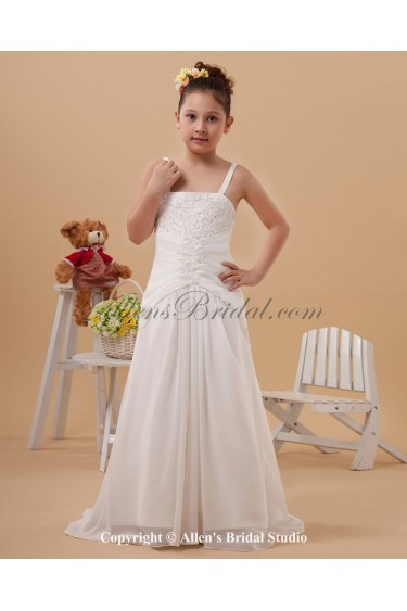 Satin Straps Sweep Train A-line Flower Girl Dress with Embroidered