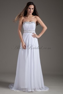 Chiffon Scoop Neckline Column Sweep Train Sequins Wedding Dress