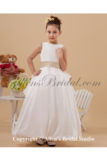 Satin Jewel Neckline Ankle-Length A-line Flower Girl Dress with Sash
