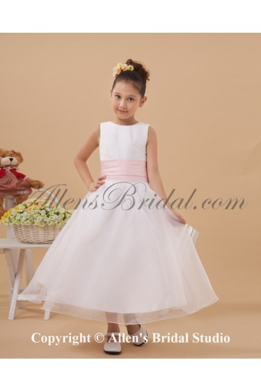 Satin and Organza Jewel Neckline Tea-Length A-line Flower Girl Dress