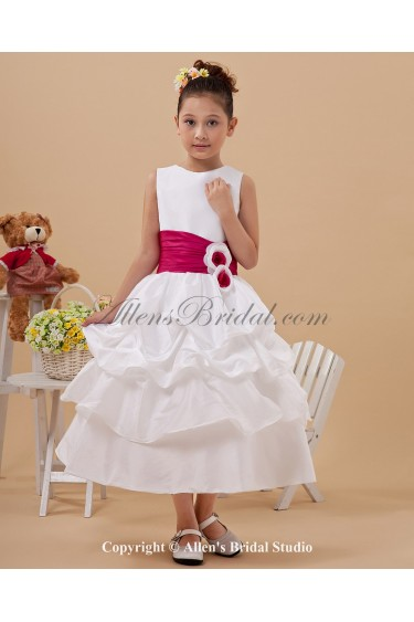Satin Jewel Neckline Tea-Length Ball Gown Flower Girl Dress