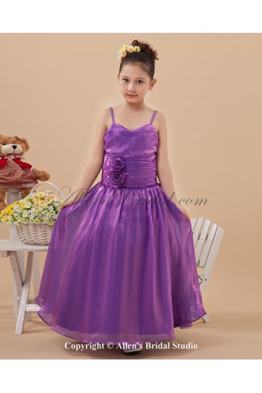 Taffeta Straps Neckline Floor Length Ball Gown Flower Girl Dress