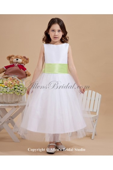 Tulle Jewel Neckline Tea-Length A-Line Flower Girl Dress with Bow