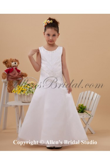 Satin and Organza Scoop Neckline Ankle-Length A-Line Flower Girl Dress with Beading