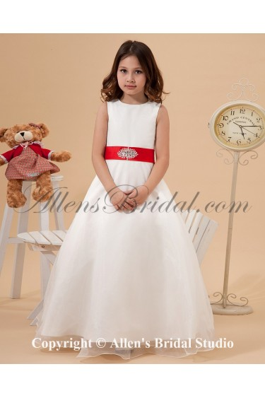 Satin and Organza Jewel Neckline Ankle-Length A-Line Flower Girl Dress with Sequins