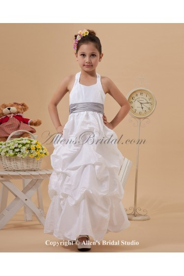 Taffeta Halter Neckline Ankle-Length A-Line Flower Girl Dress