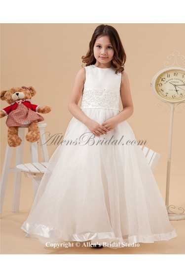Satin and Organza Jewel Neckline Floor Length Ball Gown Flower Girl Dress with Embroidered