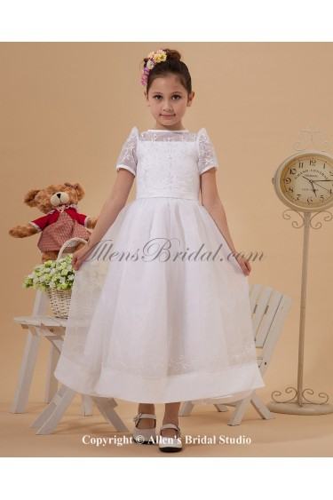 Taffeta and Yarn Jewel Neckline Ankle-Length A-Line Flower Girl Dress