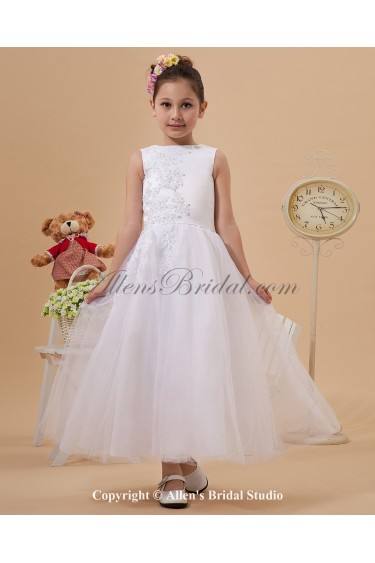 Yarn Jewel Neckline Ankle-Length A-Line Flower Girl Dress with Embroidered