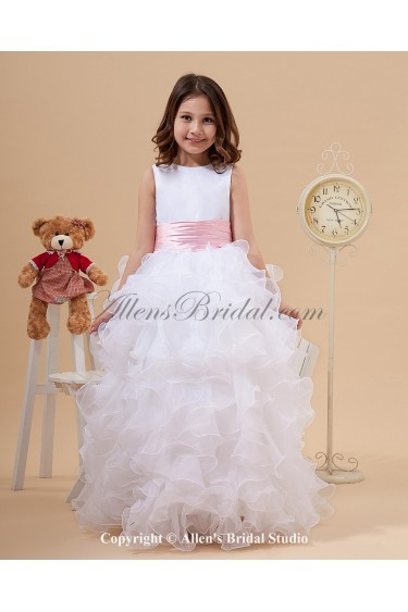Satin and Organza Jewel Neckline Floor Length A-Line Flower Girl Dress with Bow