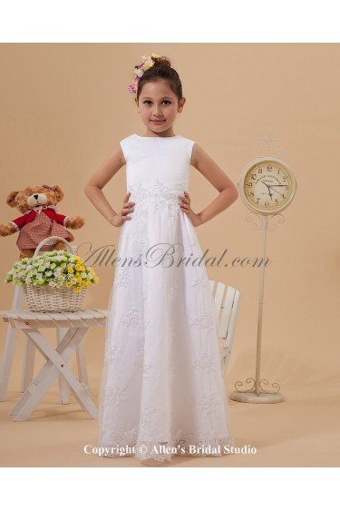 Satin and Lace Bateau Neckline Floor Length A-line Flower Girl Dress with Embroidered